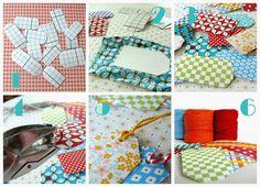 hilde@home: DIY - Cadeaulabeltjes met restjes stof/papier en lampenkapfolie...
