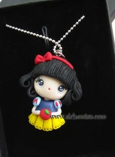 snow white necklace Disney princess inspired from AlchemianShop on Etsy. Shop more products from AlchemianShop on Etsy on Wanelo. Fimo Disney, Polymer Clay Disney, Polymer Clay Dolls, Polymer Clay Charms, Polymer Clay Projects, Polymer Clay Creations, Clay Crafts, Crea Fimo, Clay People