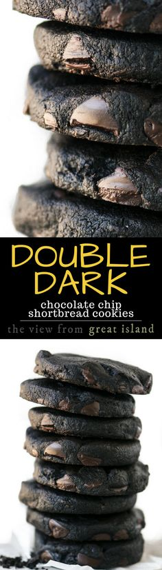 If you love chocolate, you're going to flip for these easy Double Dark Chocolate Shortbread Cookies --- chocolate just doesn't get any deeper or richer...