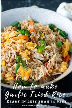 This chilli garlic fried rice recipe is an Indo Chinese style recipe - an Indian twist to Chinese fried rice by adding lots of garlic and spices. Ready in less than 30 minutes, it's an excellent option for a weeknight dinner.