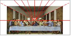Leonardo Davinci  This drawing does a double job of including the linear perspective and focusing on the main character of the picture/setting itself, Jesus. He is used as the converging point for all the lines.