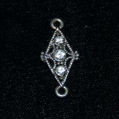 Diamond Swarovski Crystal Connector Bead by SilverRosesJewelry on Etsy