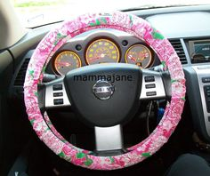This lady sells Lilly Pulitzer and Vera Bradley patterned steering wheel covers!