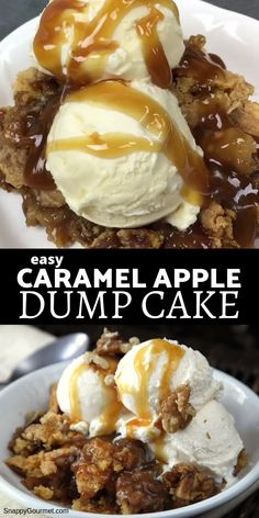 Caramel Apple Dump Cake easy recipe with a cake mix caramel and fresh apples Great topped with ice cream or whipped cream Perfect for the holidays like Thanksgiving SnappyGourmet Cake Dessert Thanksgiving Recipe at Caramel Apple Dump Cake, Apple Dump Cakes, Dump Cake Recipes, Caramel Apples, Apple Caramel, Recipe For Dump Cake, Chocolate Dump Cakes, Recipe For Apple Cake, Caramel Apple Recipes