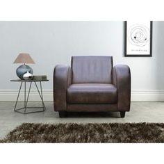 JAIPUR Fauteuil club - Tissu marron - Vintage - L 58 x P 58 cm