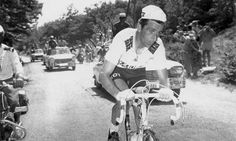 14th July 1967. British cyclist Tommy Simpson on the Mont Ventoux climb of the Tour de France. He later collapsed and died.