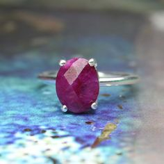 925 Solid Sterling  Silver           Handmade Pink Amethst Ovel Ring----- Birth Stone Ring-------Everyday Caual-------Delicate-------Gift