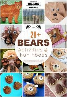 20 Bears Activities, Printables, and Fun Foods Bears Preschool, Preschool Activities, Teddy Bear Party, Goldilocks And The Three Bears, Bear Theme, Bear Birthday, Animal Crafts, In Kindergarten, Toddler Activities
