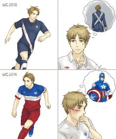 USA 2nd Kit 2014 by RavenMushroom.deviantart.com on @deviantART - Arthur's first impressions of Alfred's soccer uniforms for the FIFA World Cup: in 2010 and 2014. And I...don't think I'll be unseeing this anytime soon.