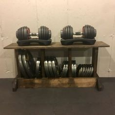 Weight Rack : 3 Steps (with Pictures) - Instructables Home Gym Bench, Home Gym Garage, Diy Home Gym, Gym Room At Home, Basement Storage, Diy Storage, Basement Gym, Garage Storage, Crossfit