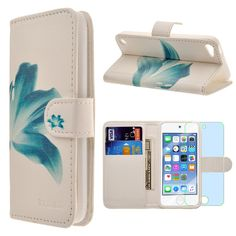 Apple iPod touch 6th / 5th generation Case, INNOVAA Premium Leather Wallet Case with STAND Flip Cover W/ Free Screen Protector & Touch Screen Stylus Pen - Teal Flower