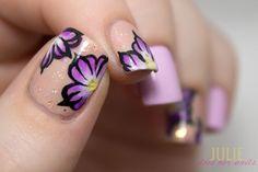 Purple One-Stroke Flowers