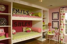 twin girl rooms, I like these simple build ins