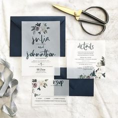 Julia Wedding Invitation Suite // Watercolor Florals on Vellum //  Navy, Mauve, Pinks, Greens // Customizable