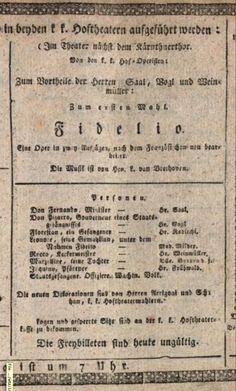 Playbill of the world premiere of Beethoven's opera Fidelio, Vienna, Kärntnertortheater, 23 May 1814