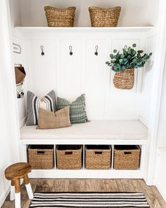 What started as a closet. now is a cute little entry nook! Ive just now been able to pack away all the heavy coats. Small Mudroom Ideas, Entry Nook, Entry Closet, Closet Mudroom, Closet Nook, Home Projects, Home And Living, Home Remodeling, Diy Home Decor