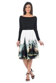Landscape print belted mixed media dress #eShakti
