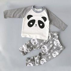 Unisex PANDA Print  Pants   Top Set