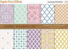 70% OFF SALES Digital Paper - Arabesque - Lilac Mint Red Blue Yellow... Moroccan Tiles and Mosaics Patterns for Scrapbook Card Making MaishopDigitalArt 1.05 USD