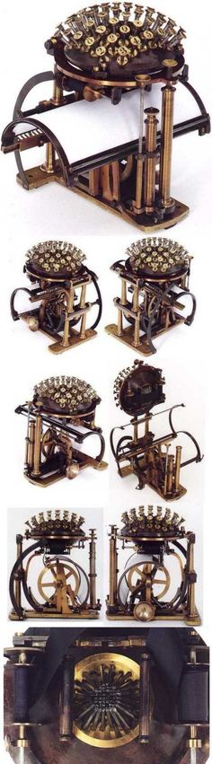 Friedrich Nietzsche's typewriter, the Malling Hansen Writing Ball, from various angles.
