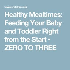Healthy Mealtimes: Feeding Your Baby and Toddler Right from the Start • ZERO TO THREE
