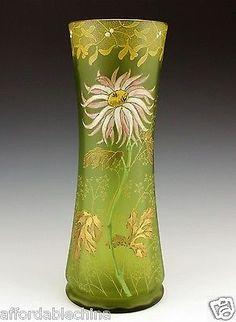 Legras-or-Mont-Joye-French-Art-Glass-Enameled-Mums-Green-12-Vase-Beautiful