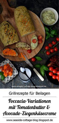 Leckere Focaccia mit Tomatenbutter und Avocado-Ziegenkäsecreme www.seaside-cottage-blog.blogspot.de