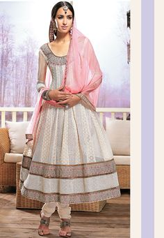 Off White Pure Georgette Anarkali Churidar Kameez: KCR6594