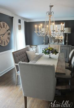 Dining room Feng Shui Dos and don'ts Dining Room Walls, Dining Room Design, Dining Room Furniture, Dark Grey Dining Room, Room Feng Shui, Dining Lighting, Decoration Inspiration, Small Dining, Home Remodeling