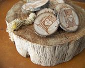 Rustic Wedding Favors Tree Stump Magnets  Custom Order for srosecreative. $47.00, via Etsy.