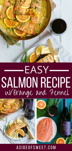 Dinner is ready in 10 minutes with this easy salmon recipe with orange and fennel. Poached salmon is moist and flaky, and only one pot means easy clean up! Healthy salmon recipes for clean eating. Best salmon dinner recipe. Easy clean eating for a healthy family dinner.