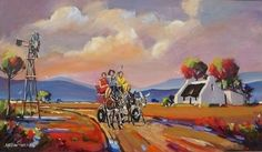 paintig by anton gericke South African Artists, Windmills, Donkey, Anton, Outdoors, Passion, Paintings, Oil, Wind Mills