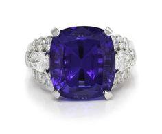 A Platinum, Tanzanite and Diamond Ring, Van Cleef & Arpels (est. $15,000-20,000). Leslie Hindman Auctioneers (=)