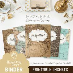 """Binder cover printable: """"VINTAGE MAPS"""" 5x set Cover and spine   Binder covers   Binder printable   Teacher binder   School binder printable"""