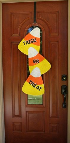 Candy Corn Burlap door and wall hanger