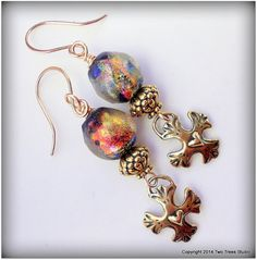 Fantasie:  Artisan lampwork earrings, golden beads, bronze charms--a modern twist on a Renaissance style.  By Two Trees Studio, $52.00.