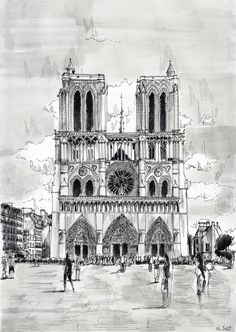 Notre-Dame. Black ink drawing. By Nicolas Jolly. #drawing #watercolor #painting #art