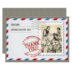 Happy Teacher Appreciation Day. Vintage Design Teacher Appreciation Day corporate or personal Customizable Flat Greeting Cards for Teachers with a vintage classroom scene image. Matching cards, postage stamps and other products available in the Business / Occupation Specific / Education, Childcare Category of the oldandclassic store at zazzle.com