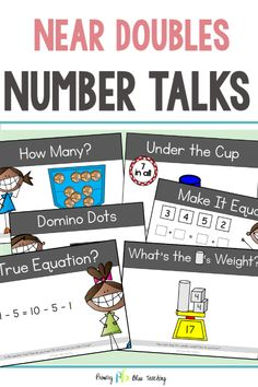 Teaching the Near Doubles math strategy has never been easier or more fun. This Near Doubles product is full of engaging number talks that are guaranteed to get your students excited about math and problem solving. Math Fact Practice, Math Talk, First Grade Classroom, First Grade Math, Math Fact Fluency, Number Talks, Math Strategies, Math Word Problems, Math Facts
