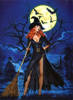 Halloween witch sexy pin up. Fantasy Witch, Witch Art, Dark Fantasy, Fantasy Art, Halloween Pin Up, Vintage Halloween, Happy Halloween, Halloween Clothes, Halloween Witches