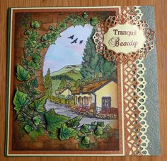 Sheena Douglass Stamp which i water coloured in then used Creative Expressions Ivy and decoupaged the leaves around a hand drawn brick wall. Card Tags, I Card, Draw Bricks, Sheena Douglass, Leaf Cards, Crafters Companion, Layout Inspiration, How To Draw Hands, Projects To Try