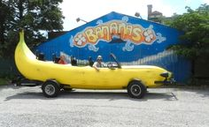 Banana Car is Ready for World Tour by NPR: Steve Braithwaite of Flint, MI and his brother Spade, bought a 1993 Ford F-150 and removed the body and then built the skeleton shape of a banana over the engine and suspension, covered it with chicken wire, sculpted it into a banana shape, and painted it yellow. The Braithwaites plan to drive Big Banana around the world next spring to promote awareness of Deep Vein Thrombosis, the cause of their mother's death. #Banana #Car #Steve_Braithwaite #NPR