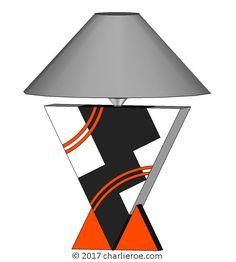 TDS - The Design Service - New Donald Deskey Art Deco Cubist painted table lamps & lights furniture