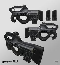 This concept of the Prowler PDW is my hat tip to Seburo, Masamune Shirow's fictional arms manufacturer from Ghost in the Shell and Appleseed. We wanted a high caliber submachine gun, Sci Fi Weapons, Weapon Concept Art, Fantasy Weapons, Weapons Guns, Guns And Ammo, Futuristic Armour, Future Weapons, Tactical Equipment, Submachine Gun