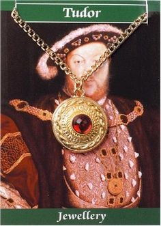 Museum jewelry replica of the necklace worn by Tudor King Henry VIII pictured in Hans Holbein's painting now in the Walker Art Gallery, Liverpool. The circular disk has a laurel wreath motif with inne