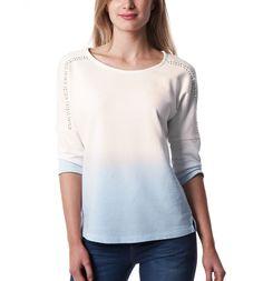 Faded sweatshirt top - Ultra faded denim print - Women - Tops - Promod