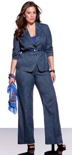 Plus Size Wear to Work Options: Eloquii Navy Pantsuit