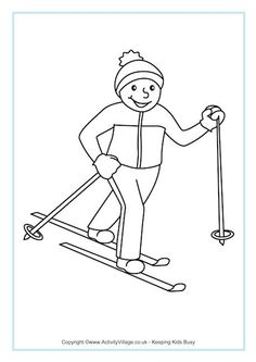 Cross Country Skiing Colouring Page
