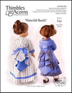 The Thimbles and Acorns Waterfall Bustle 18 inch Doll clothes pattern. Add a little Victorian or Steampunk panache to your historical dresses with this Waterfall Bustle pattern. American Doll Clothes, Ag Doll Clothes, Doll Clothes Patterns, Doll Patterns, Clothing Patterns, Fashion Patterns, Kids Patterns, Sewing Patterns, Ag Dolls