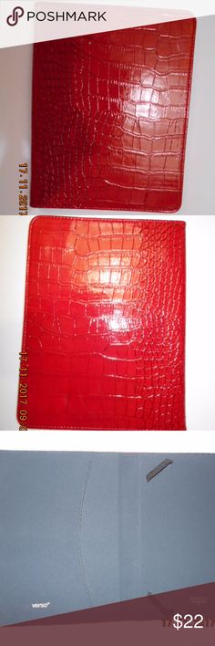 Verso Red Leather Tablet Case Brand New. Red Leather with awesome alligator skin design. Interior is black with elastic straps to hold your tablet securely inside. Hard cover. Verso Accessories Laptop Cases